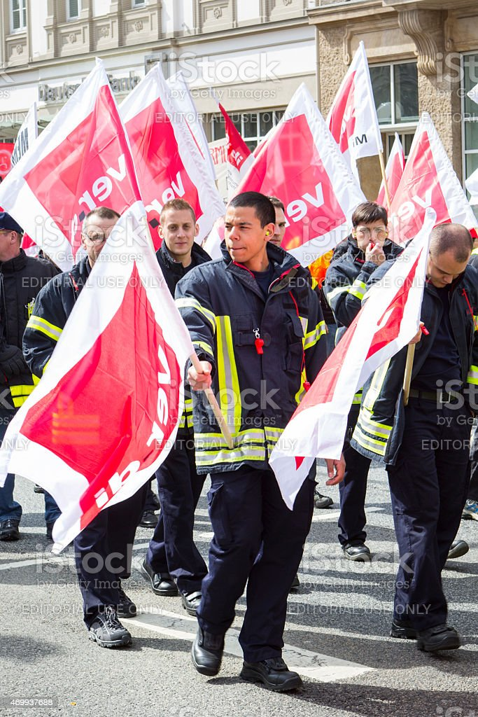 Warning strike and demonstration for higher wages - Wiesbaden, G stock photo