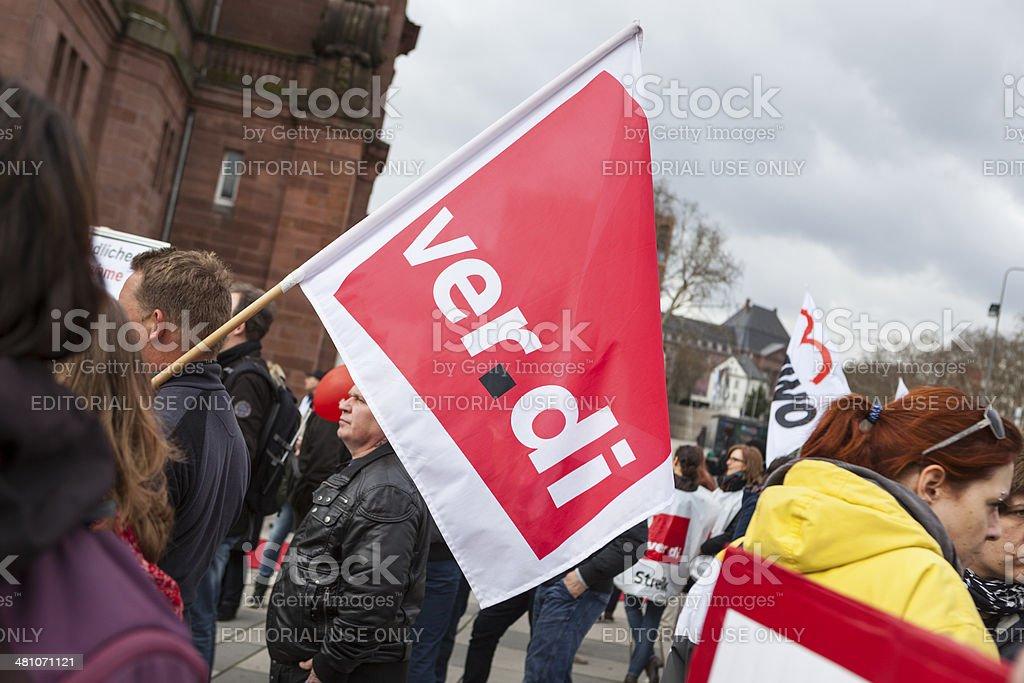 Warning strike and demonstration of german trade union verdi, Wi stock photo