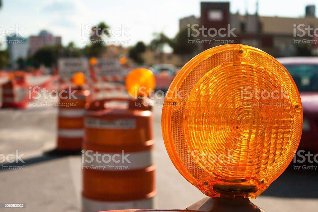 Warning traffic ligth stock photo