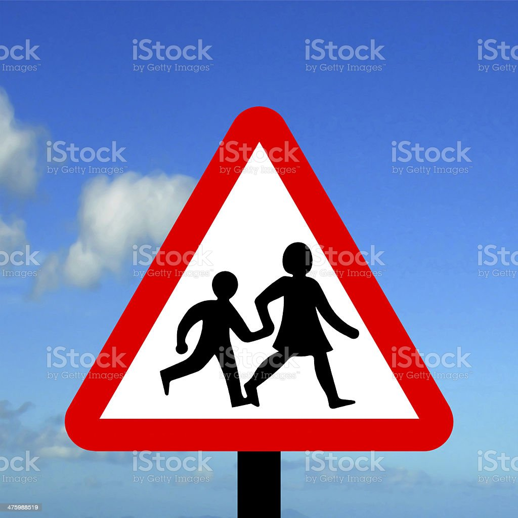 Warning triangle children crossing stock photo