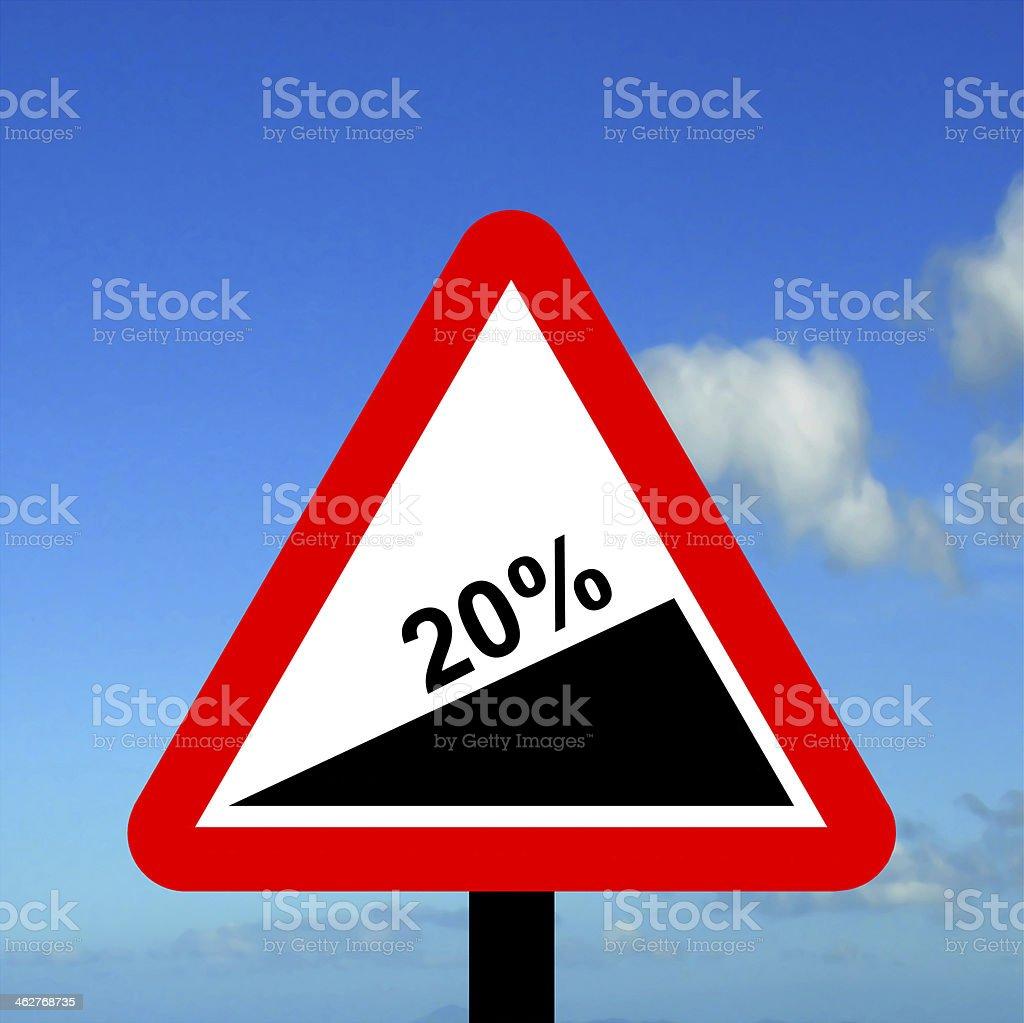 Warning triangle Steep hill upwards stock photo