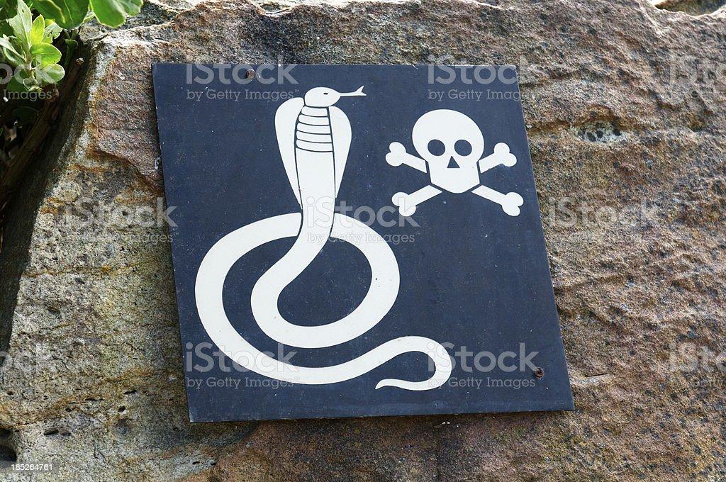 Warning venomous snakes stock photo