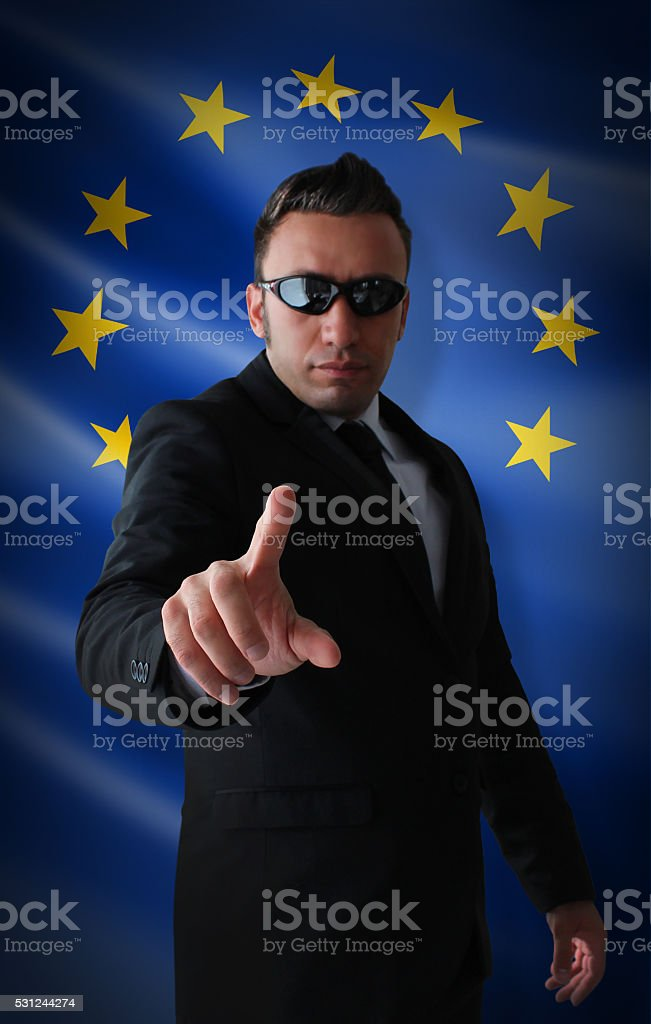 EU Warns! stock photo