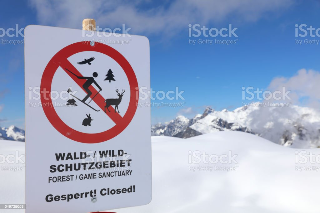 Warnschild in Österreich stock photo