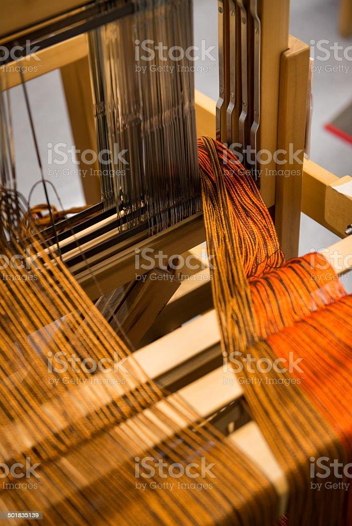Warp yarn sitting on Loom stock photo