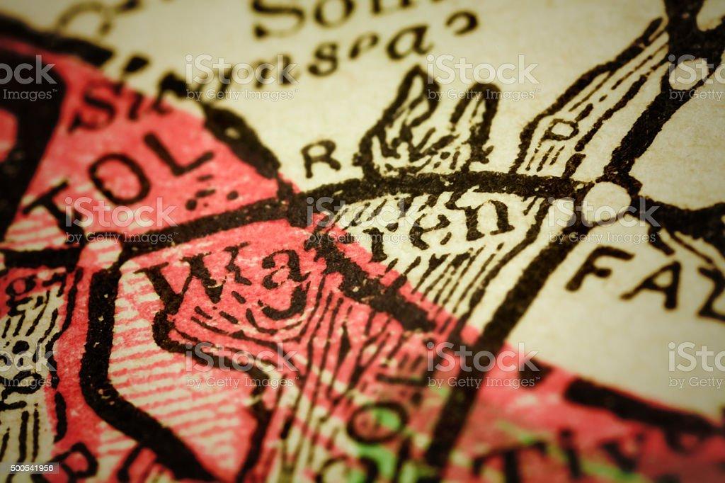 Warren, Rhode Island on an Antique map stock photo