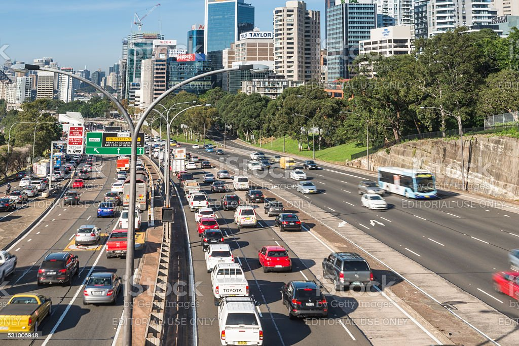 Warringah Freeway, Sydney, Australia with Morning Traffic stock photo