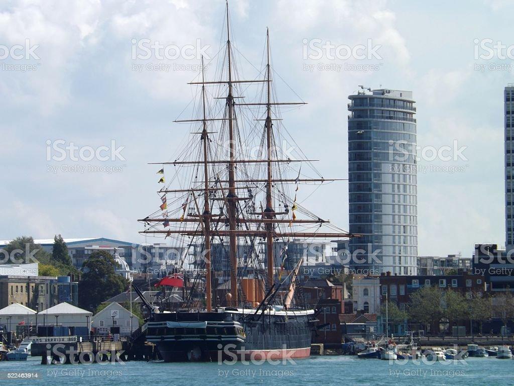 HMS Warrior 1890 stock photo