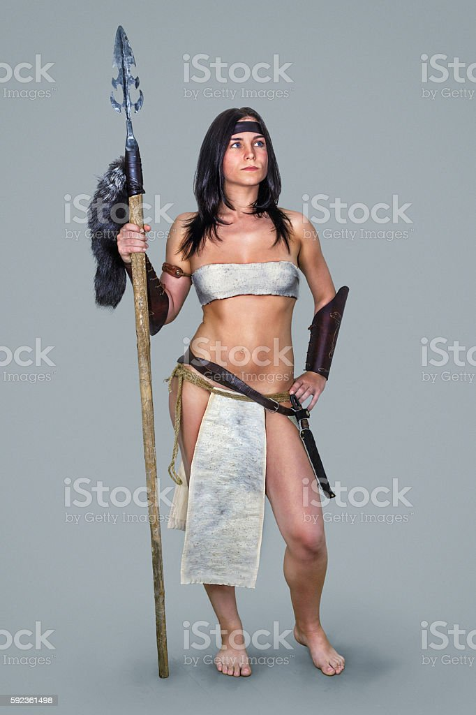 Warrior brunette girl ancient. stock photo