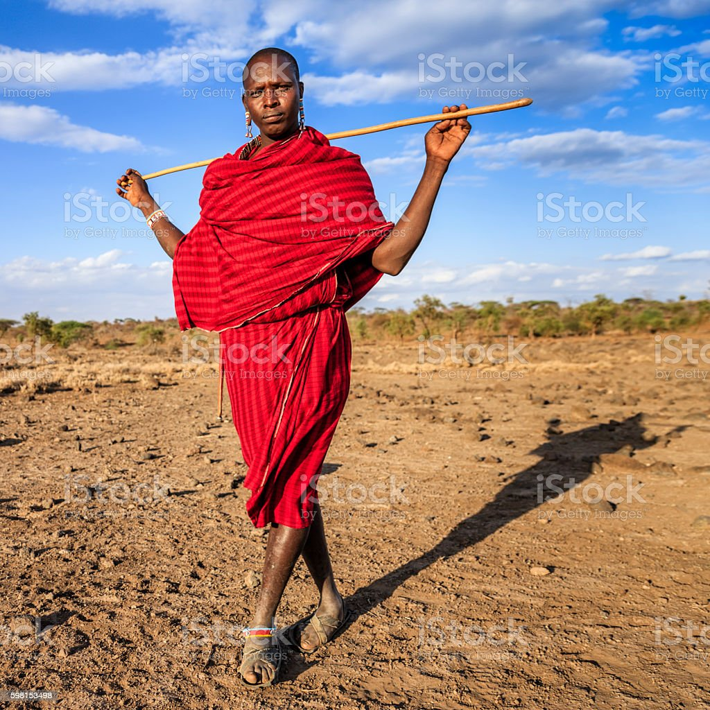 Warrior from Maasai tribe, Kenya, Africa stock photo