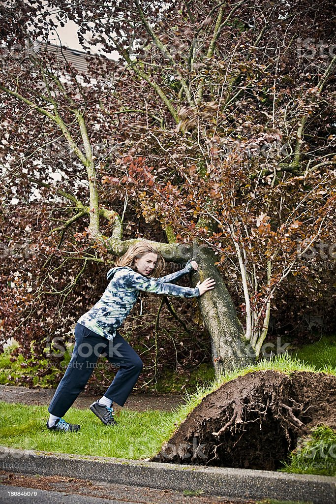 Warrior girl takes out a Cherry Tree stock photo