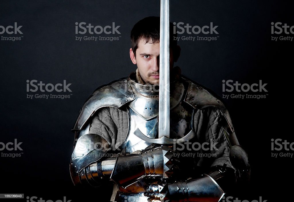 Warrior holding his great sword stock photo