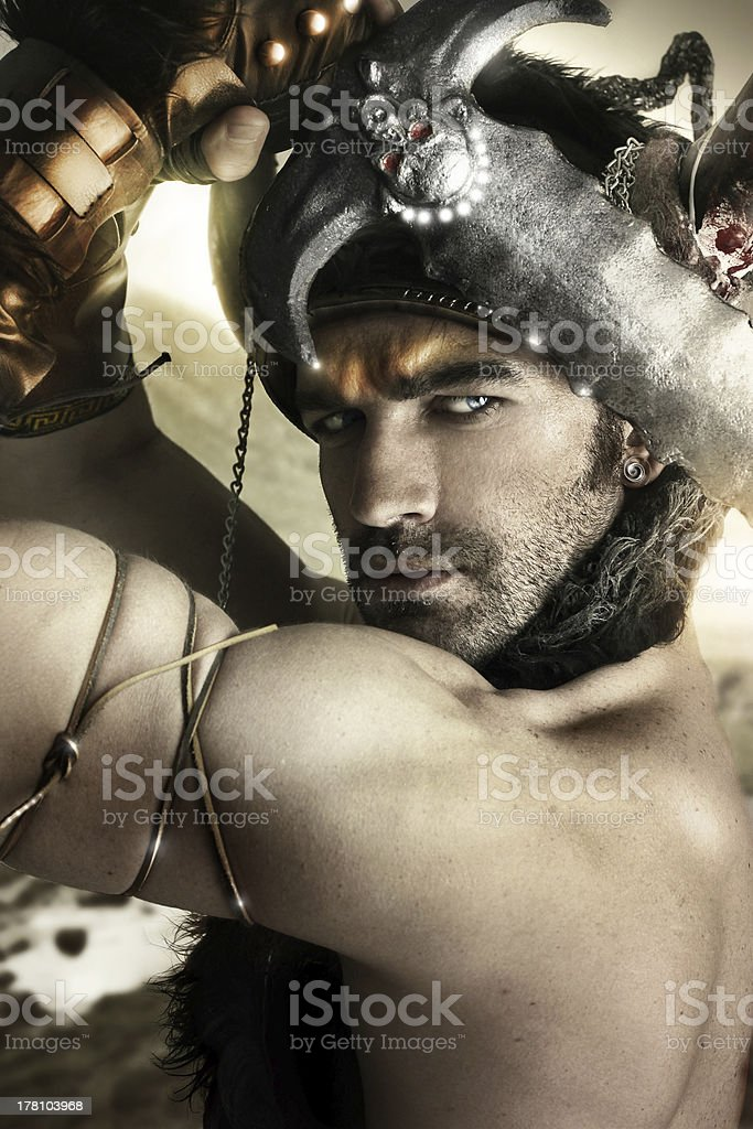Warrior in action royalty-free stock photo