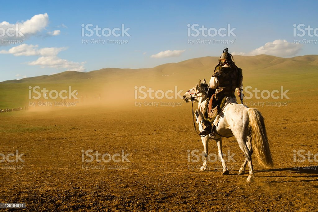Warrior in Genghis Khan Historical Reenactment stock photo