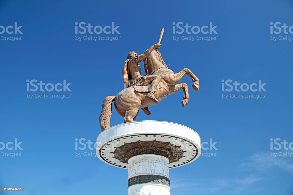 Warrior on a Horse statue 'Alexander the Great' on Skopje Square stock photo