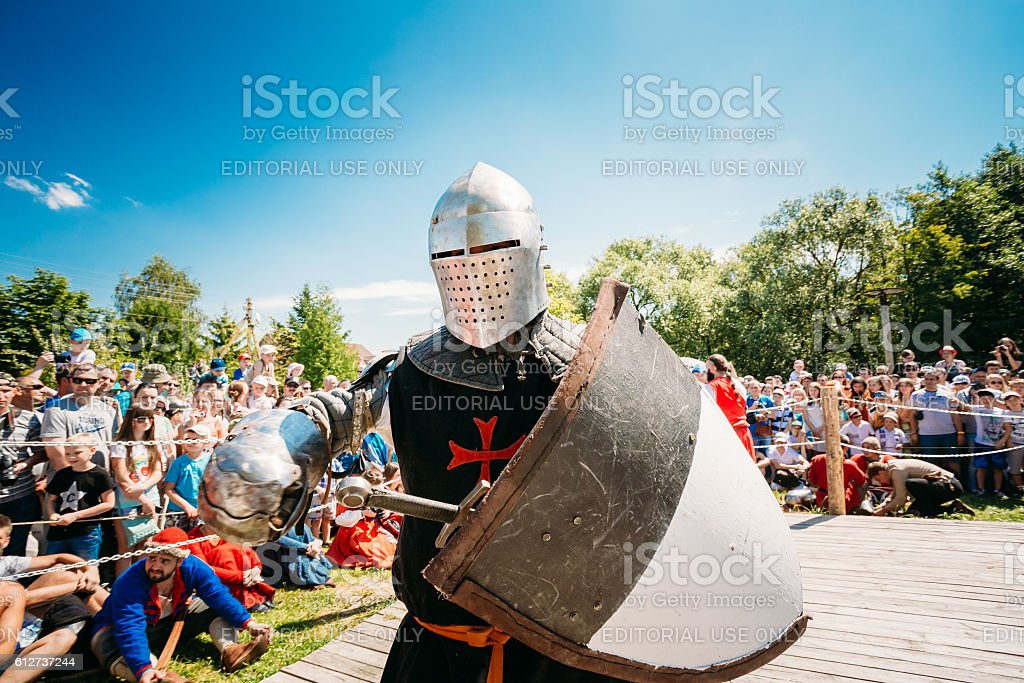Warrior participant of festival of medieval culture stock photo