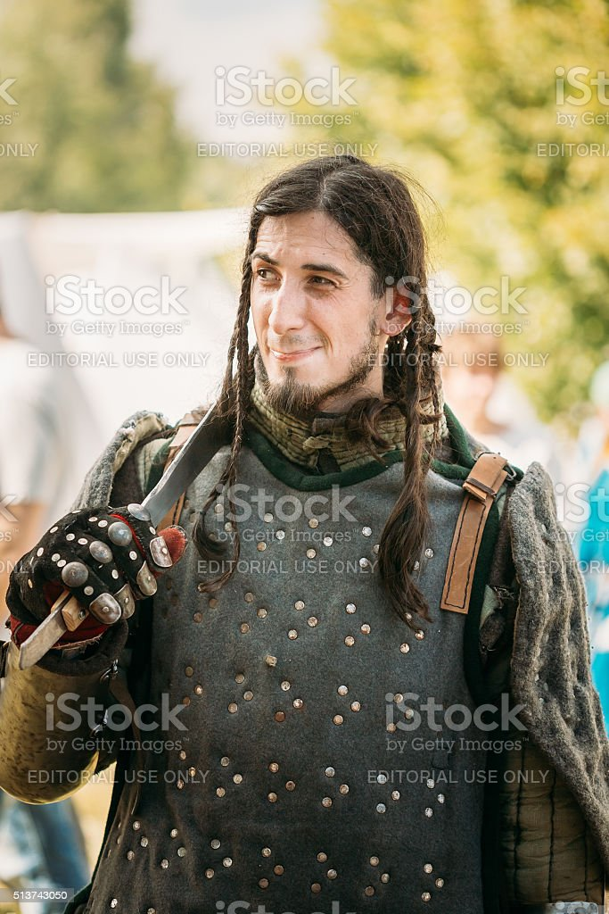 Warrior participant of VI festival of medieval culture 'Our Grun stock photo