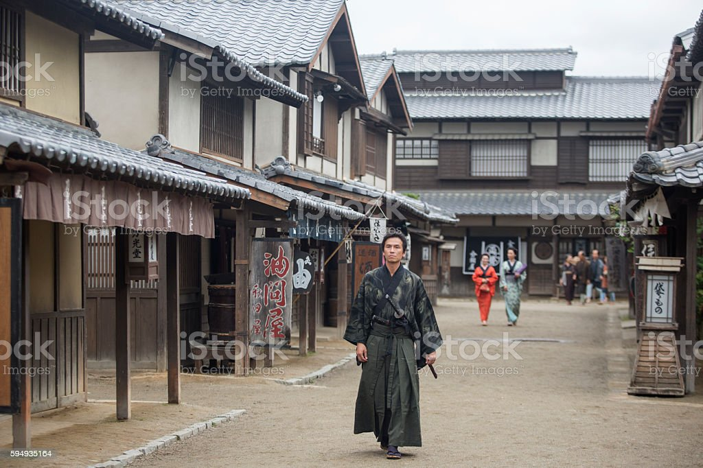 warrior samurai costume man in toei studios at kyoto japan stock photo
