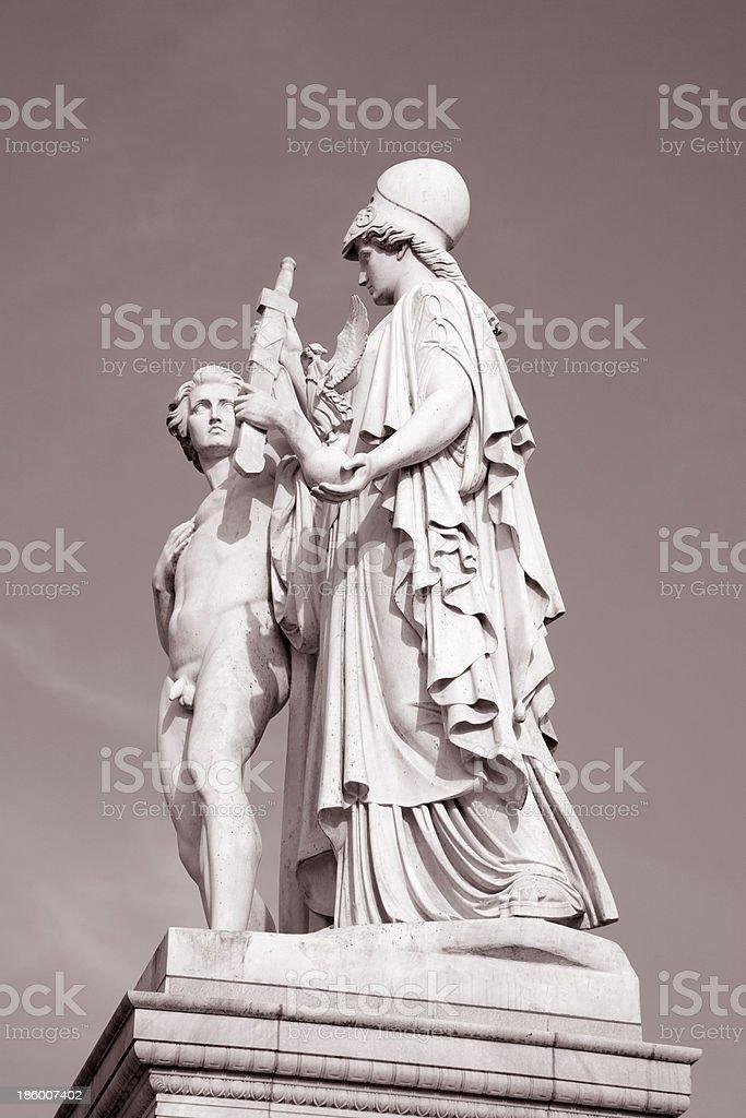 Warrior Sculpture by Moeller; Schlossbrucke Bridge; Berlin royalty-free stock photo