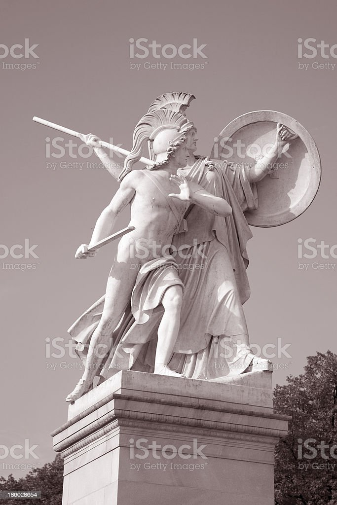 Warrior Sculpture; Schlossbrucke Bridge; Berlin royalty-free stock photo