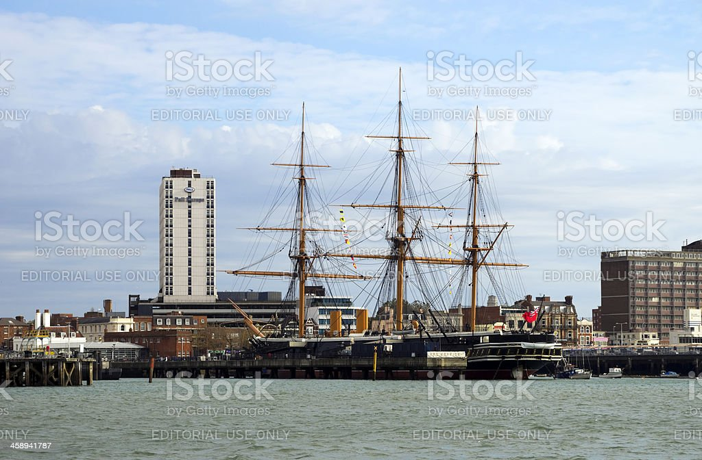 HMS Warrior seen from Portsmouth Harbour stock photo