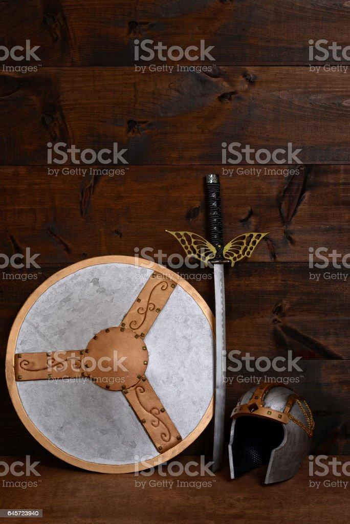 warrior shield sword and helmet stock photo