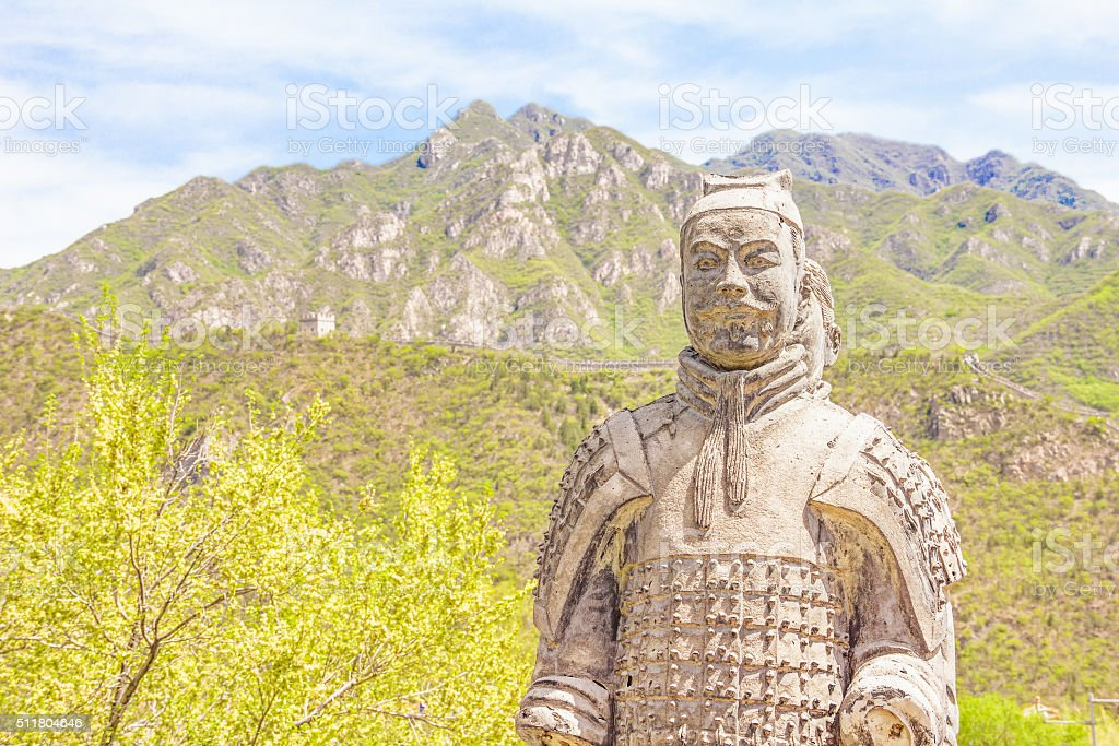 Warrior statues in the Great Wall of China stock photo