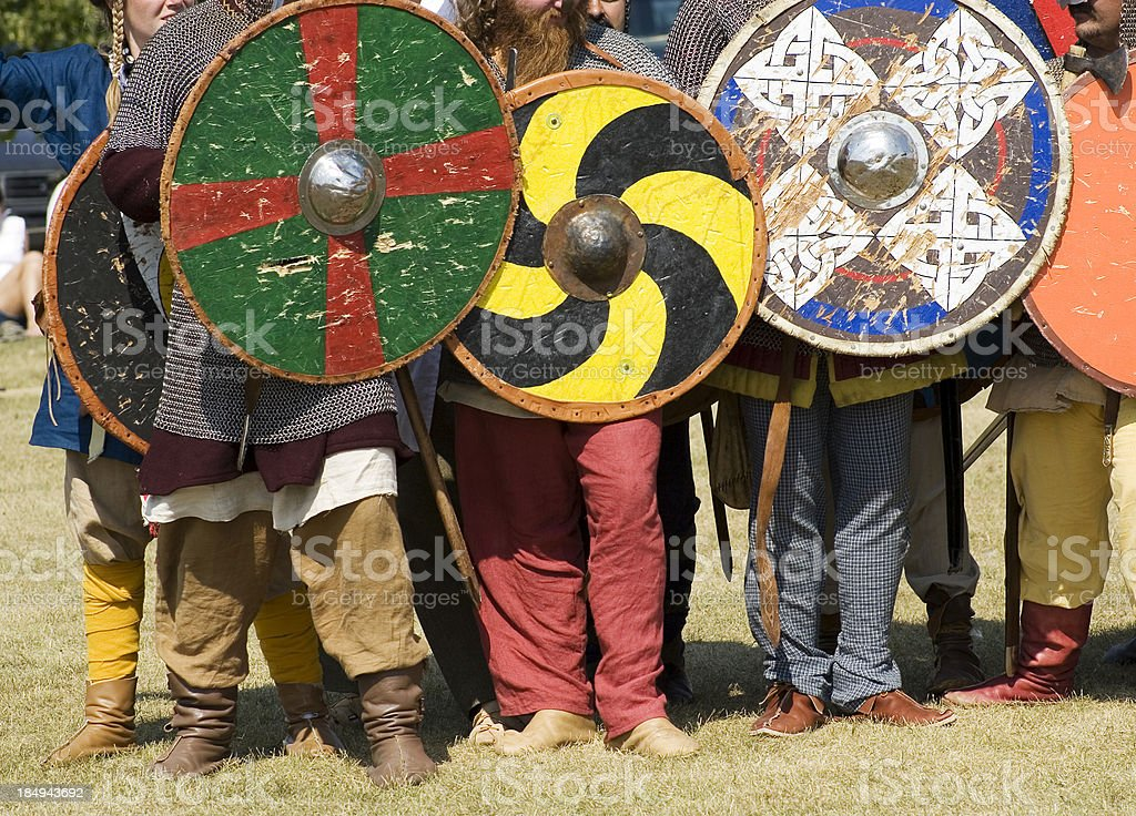 Warrior viking shields. stock photo