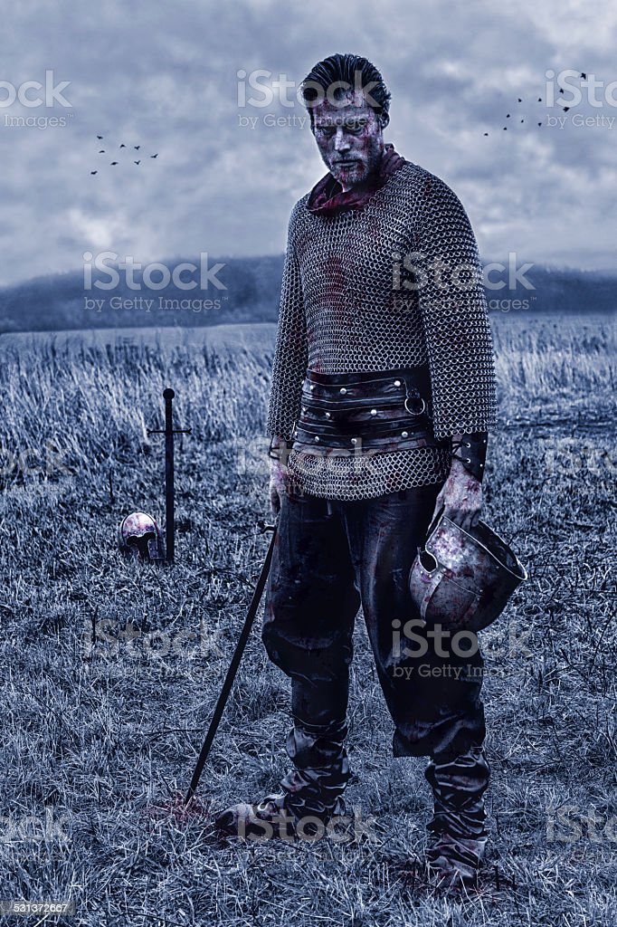 Warrior with sword alone on battlefield after a fight stock photo
