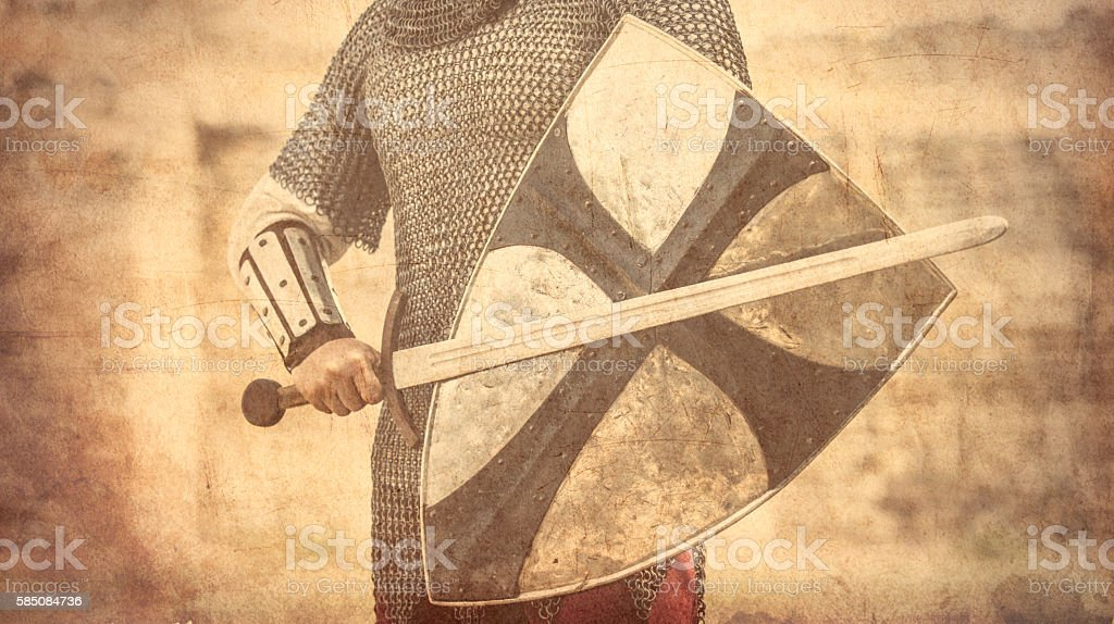 warrior with sword and shield stock photo