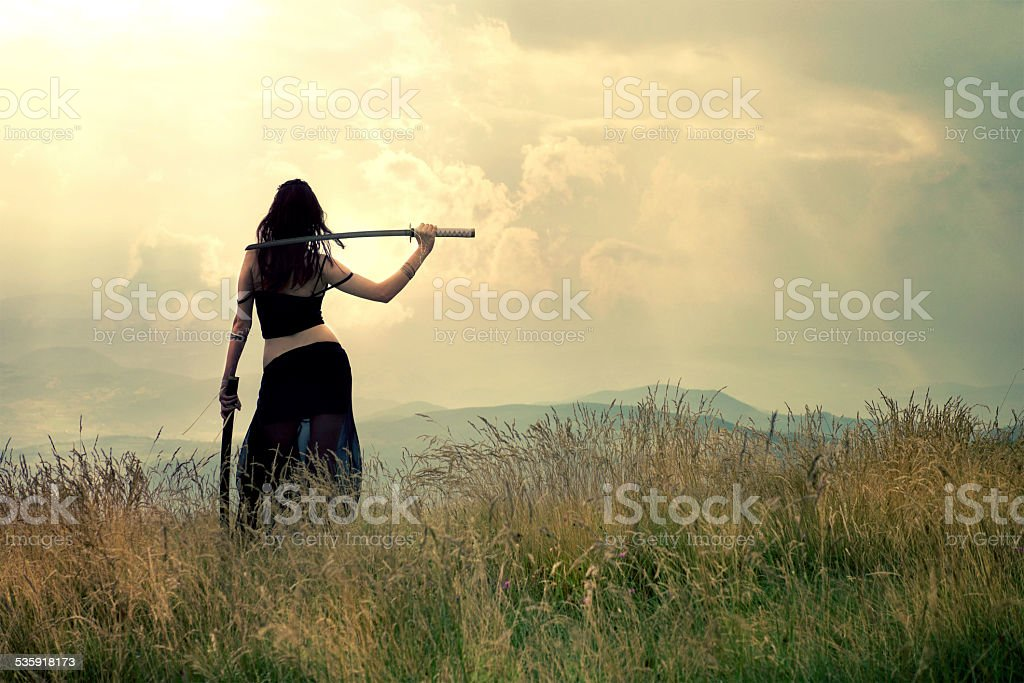 Warrior woman stock photo