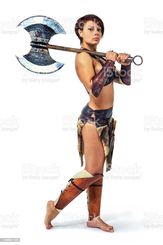 Warrior - woman with an axe stock photo