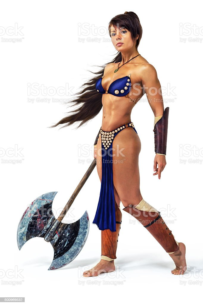Warrior - woman with an axe stock photo
