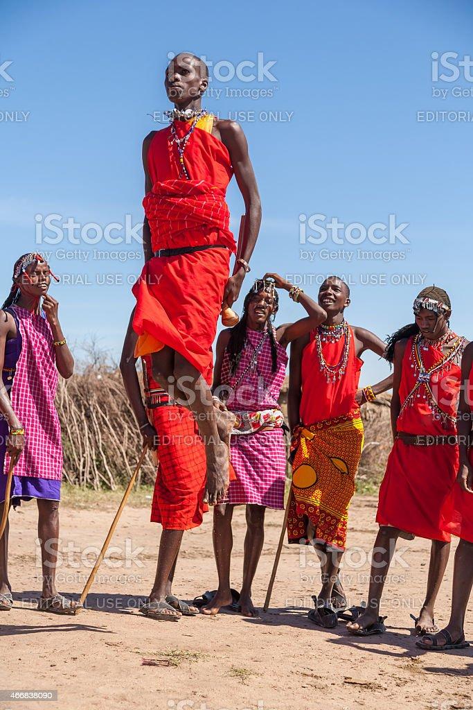 Masai Mara, Kenya, Africa - February 12, 2010 :  warriors dancing stock photo