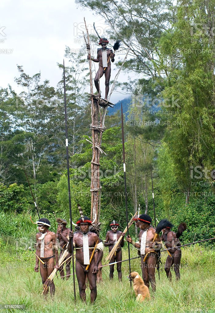 warriors of a Papuan tribe in traditional clothes and coloring stock photo