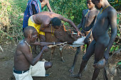 Warriors of the Surma tribe at a blood drinking ritual