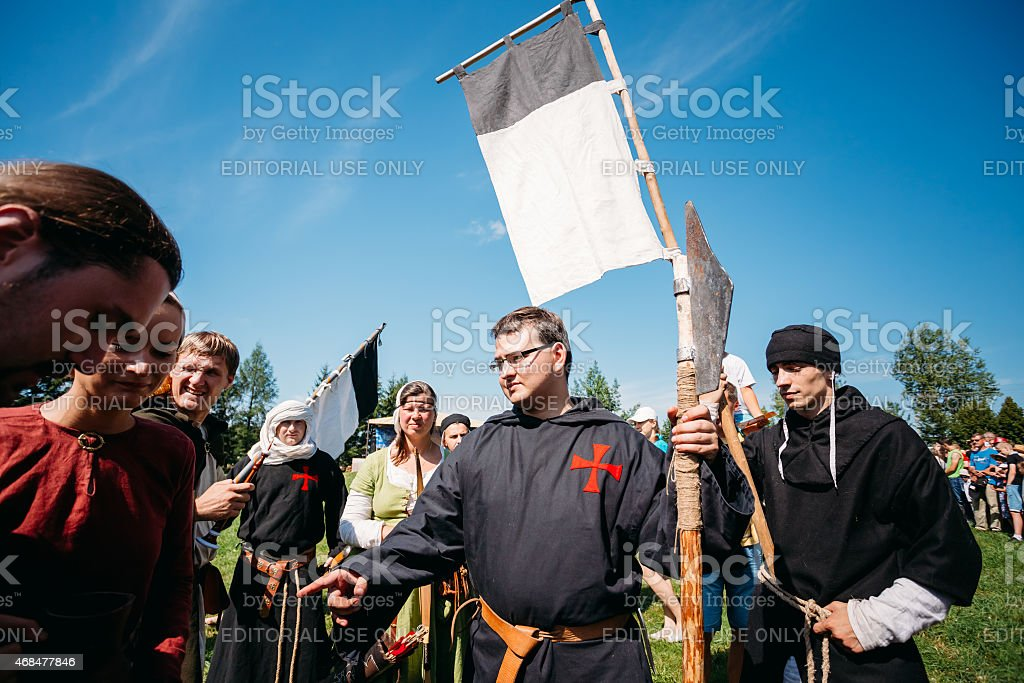 Warriors participants of VI festival of medieval culture 'Our Gr stock photo