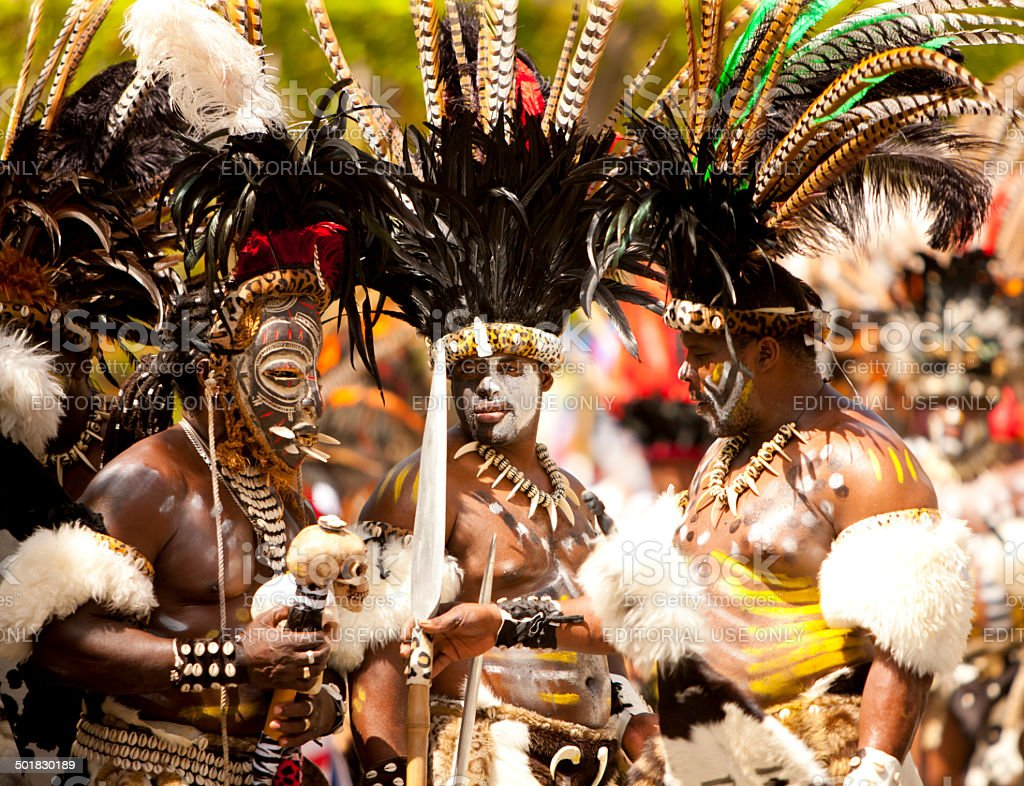 warriors troupes dancing during St. John Festival and Carnival, 2014 stock photo