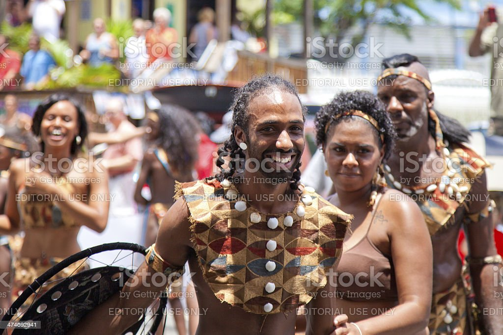 warriors troupes dancing during St. John Festival and Carnival, USVI stock photo