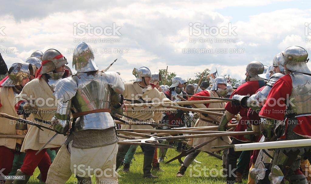 Wars of Roses Medieval re-enactors staging Battle of Tewkesbury stock photo