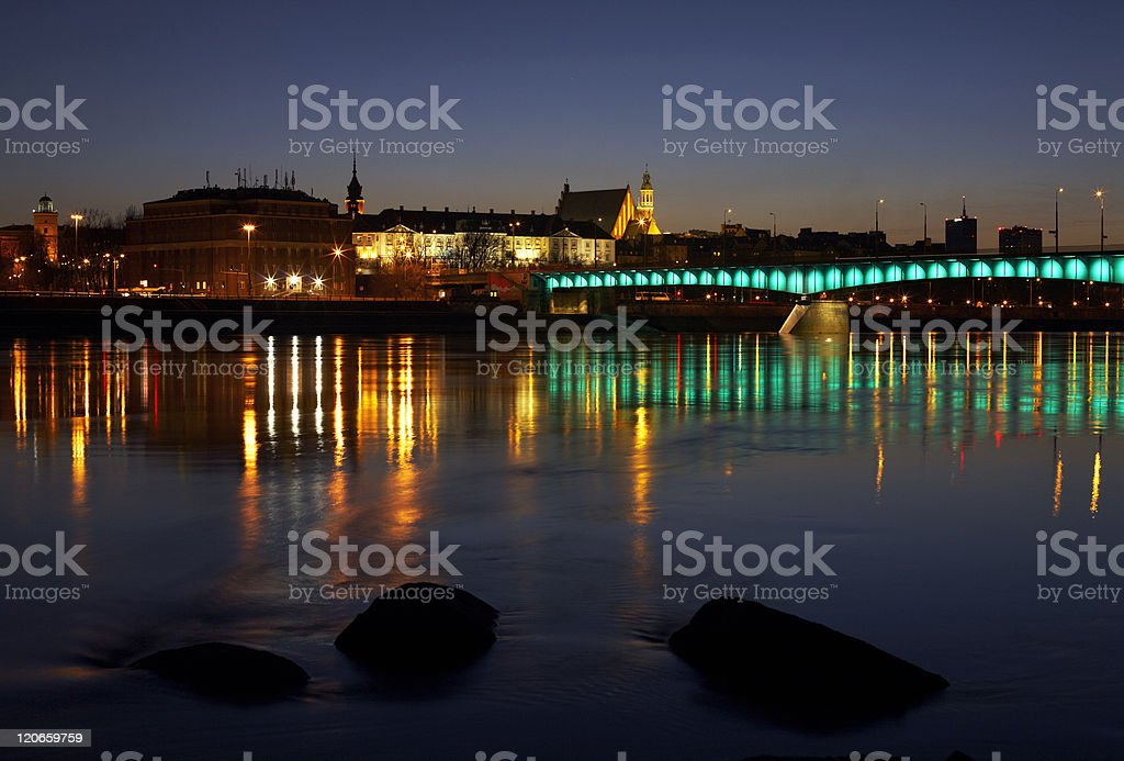 Warsaw and Vistula river royalty-free stock photo