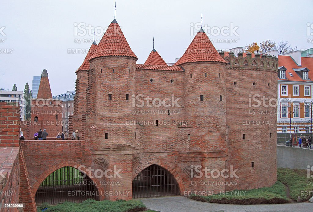 Warsaw Barbican, semicircular fortified outpost stock photo