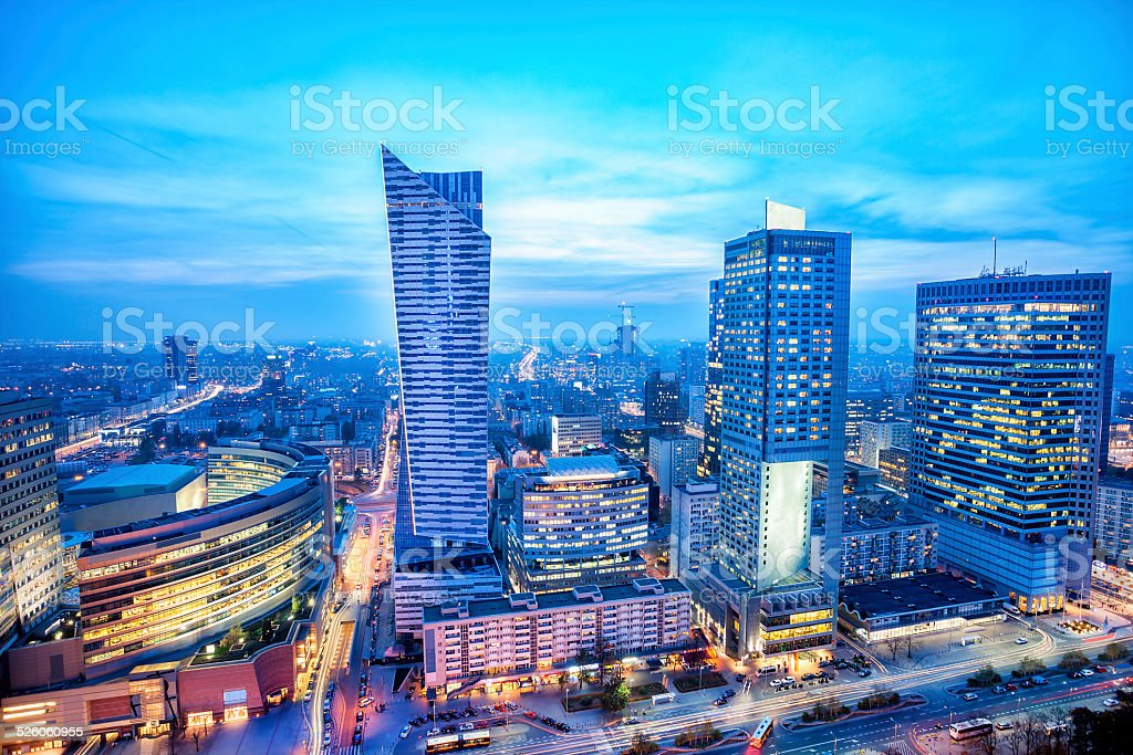 Warsaw Business District at Dusk, Poland stock photo
