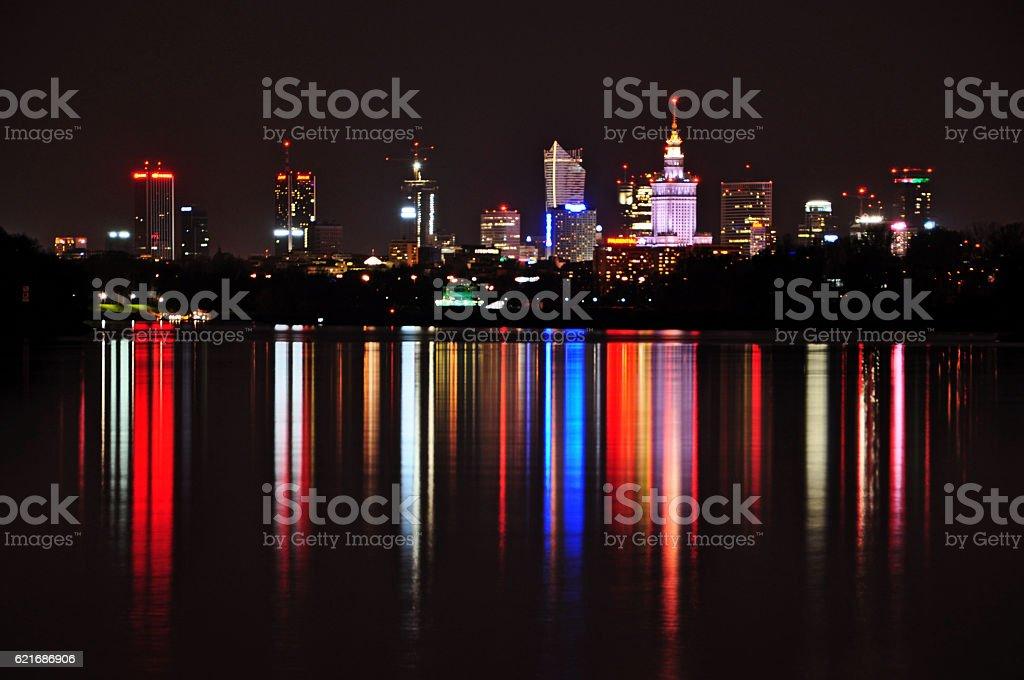 Warsaw by night stock photo