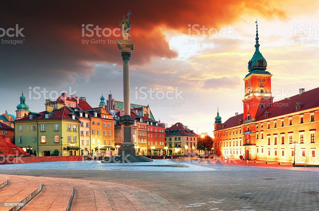Warsaw city at sunrise, Poland stock photo