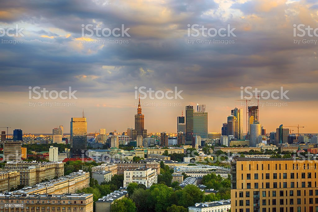 Warsaw city center at sunset. stock photo