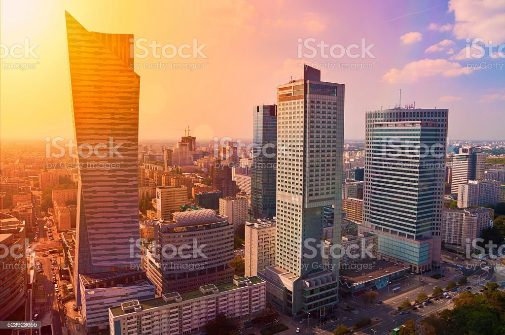 Warsaw downtown - aerial photo of modern skyscrapers at sunset stock photo