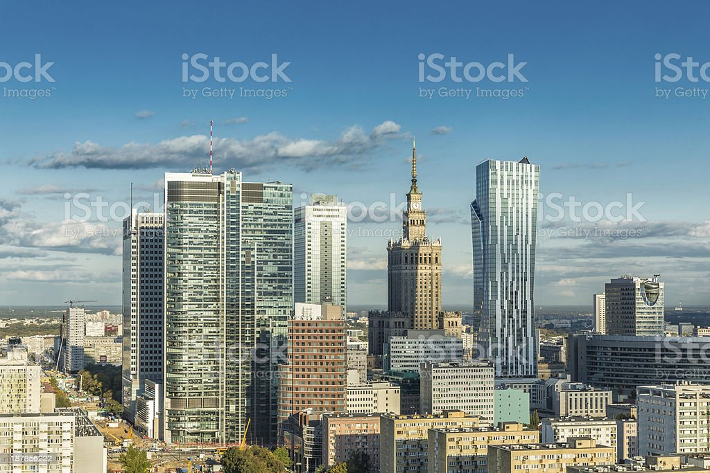 Warsaw downtown aerial view stock photo