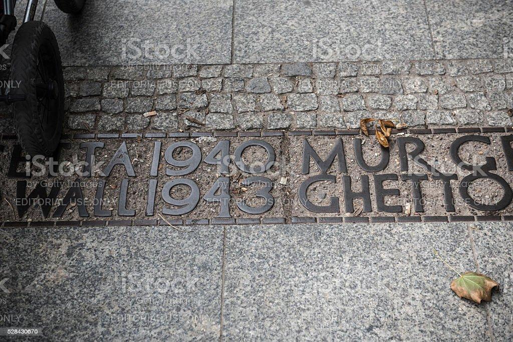 Warsaw Ghetto boundary in Warsaw, Poland stock photo