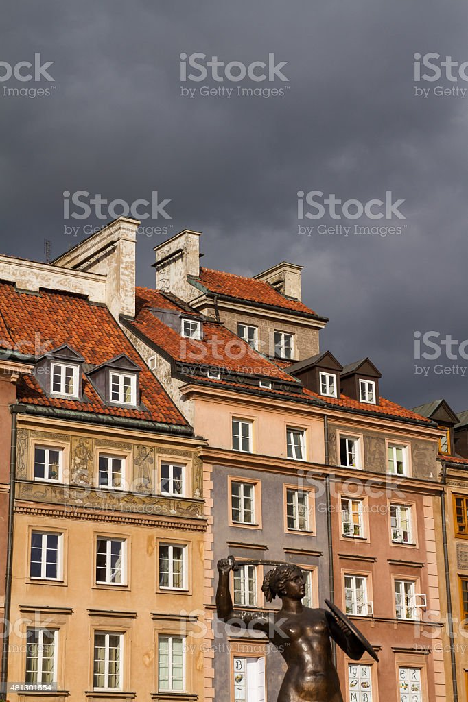 Warsaw historic main square facades, old town. stock photo